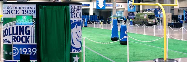 Rolling Rock marketing photobooth for corporate sporting event